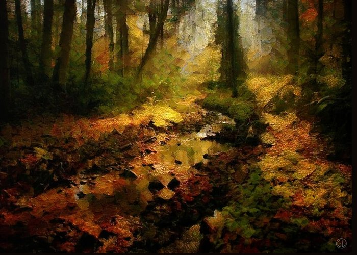 Landscape Greeting Card featuring the digital art Autumn Sunrays by Gun Legler