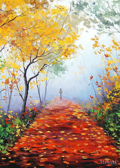 Fall Greeting Card featuring the painting Autumn Trail by Graham Gercken