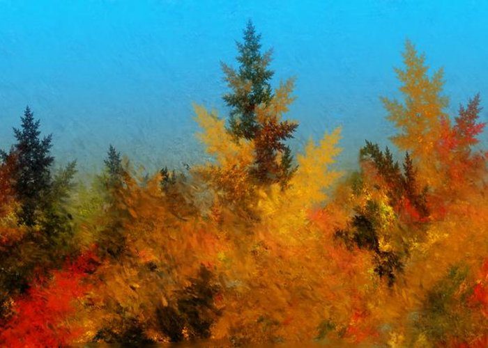 Abstract Digital Painting Greeting Card featuring the digital art Autumnal Forest by David Lane