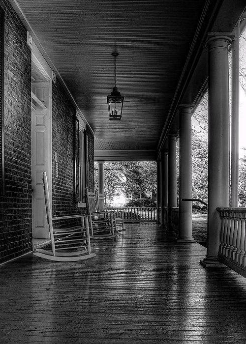 National Register Greeting Card featuring the photograph Avenel Front Porch - Bw by Steve Hurt