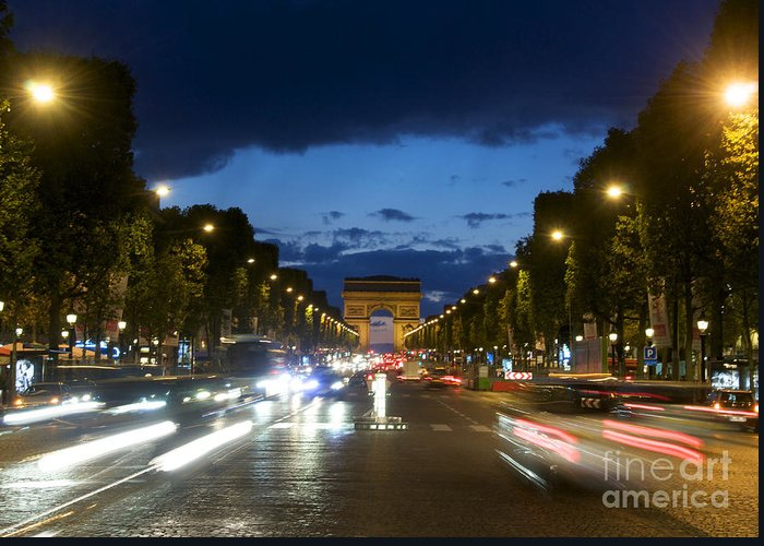 Paris Greeting Card featuring the photograph Avenue Des Champs Elysees. Paris by Bernard Jaubert