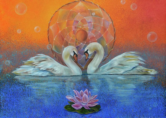 Swans Greeting Card featuring the painting Awakening To The Beauty Within by Sundara Fawn