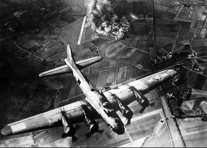 B 17 Greeting Card featuring the photograph B-17 Bomber Over Germany by War Is Hell Store