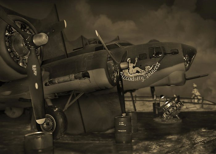 Warbird Greeting Card featuring the photograph B - 17 Field Maintenance by Mike McGlothlen