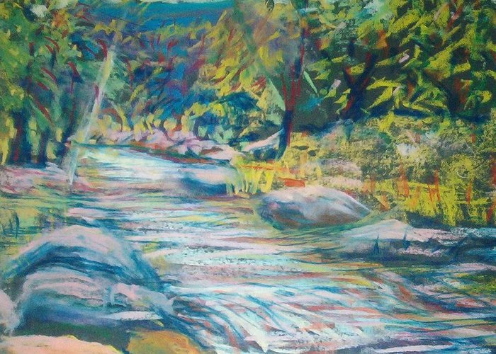 Water Greeting Card featuring the pastel Babbling Brook by Richalyn Marquez