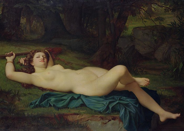 Bacchante Greeting Card featuring the painting Bacchante by Pierre Honore Hugrel