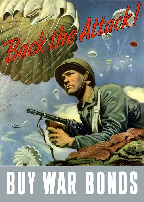 Airborne Greeting Card featuring the painting Back The Attack Buy War Bonds by War Is Hell Store