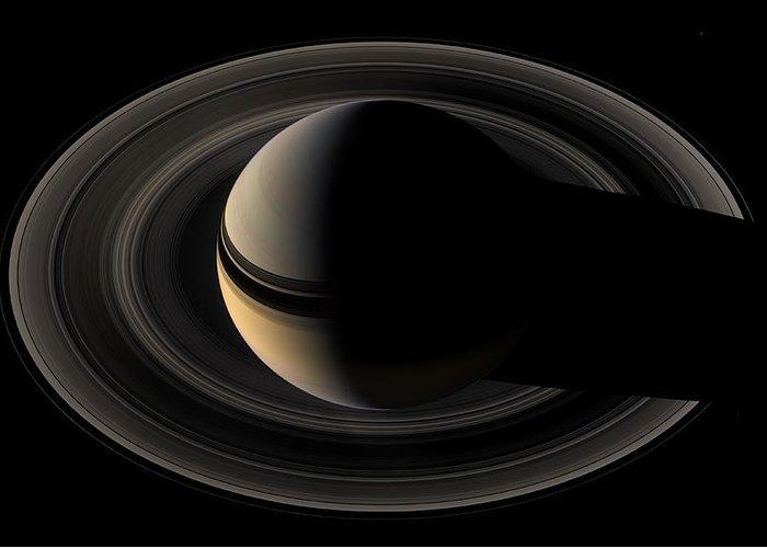 Backlit Saturn From Cassini Orbiter 2007 May 9 Greeting ...