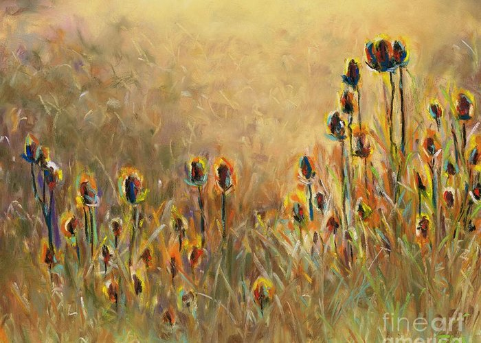 Thistle Greeting Card featuring the painting Backlit Thistle by Frances Marino