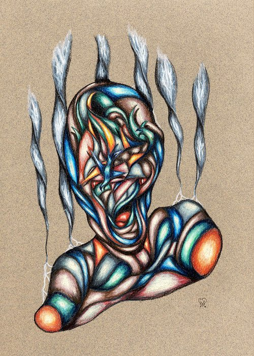 Pain Greeting Card featuring the drawing Bad Day by Karen Musick