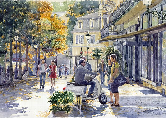 Watercolor Greeting Card featuring the painting Baden-baden Sophienstr Last Warm Day by Yuriy Shevchuk