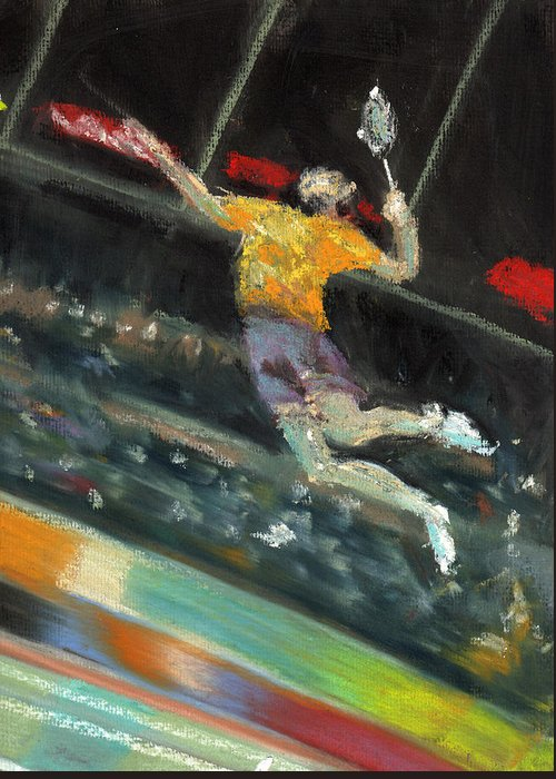Pastels Greeting Card featuring the pastel Badminton Player by Paul Mitchell