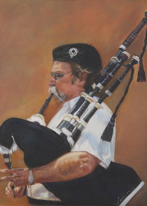 Bag Pipe Greeting Card featuring the pastel Bag Pipe by Leonor Thornton