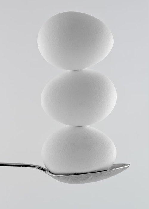 Balance Greeting Card featuring the photograph Balancing Eggs by Gert Lavsen