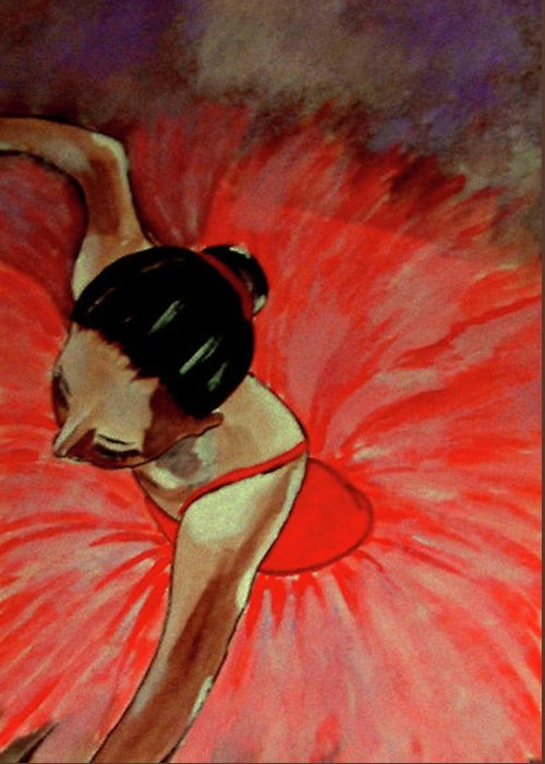 France Greeting Card featuring the painting Ballerine Rouge by Rusty Woodward Gladdish