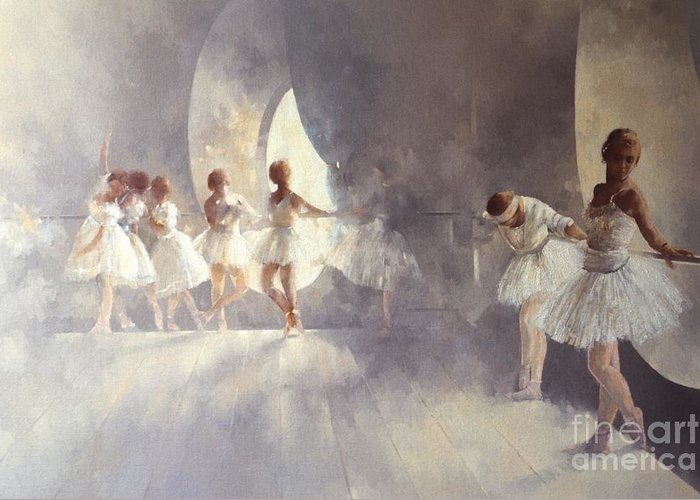 Ballerina; Ballet; Girls; Girl; Female; Dance; Dancing; Dancers; Interior; Tutu; Leotard; Ballet Studio Greeting Card featuring the painting Ballet Studio by Peter Miller