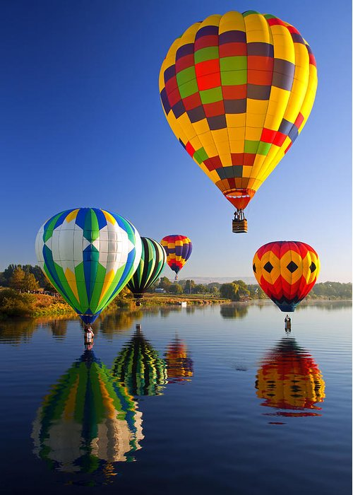 Balloon Greeting Card featuring the photograph Balloon Reflections by Mike Dawson