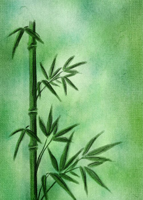Abstract Greeting Card featuring the digital art Bamboo by Svetlana Sewell