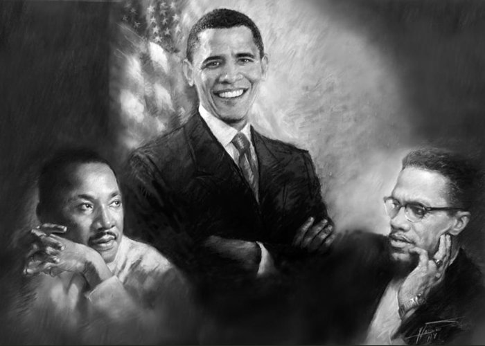 Barack Obama Greeting Card featuring the pastel Barack Obama Martin Luther King Jr And Malcolm X by Ylli Haruni