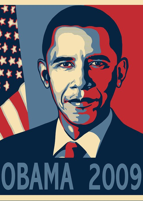 Portrait Poster Greeting Card featuring the digital art Barack Obama Presidential Poster by Sue Brehant