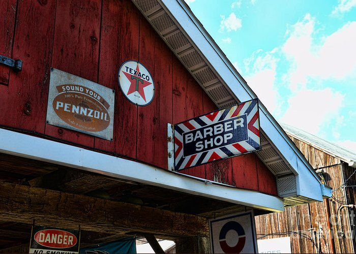 Barber Greeting Card featuring the photograph Barber - Old Barber Shop Sign by Paul Ward