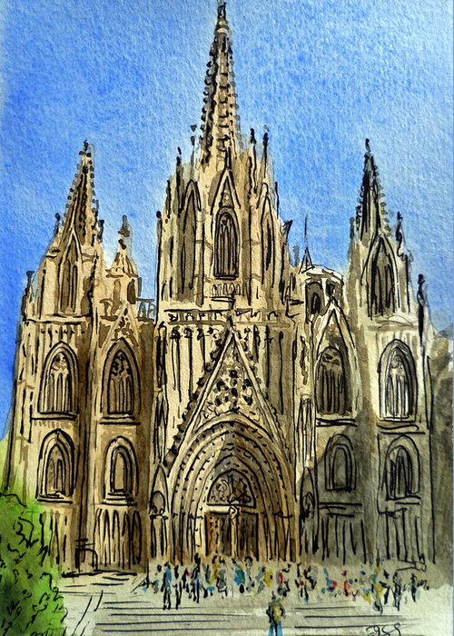 Barcelona Cathedral Greeting Card featuring the painting Barcelona Spain by Irina Sztukowski