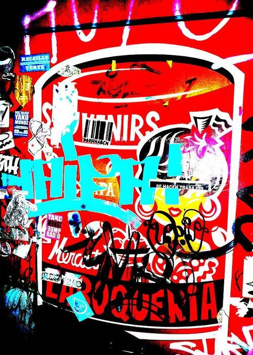 Graffiti Greeting Card featuring the photograph Barcelona Street Graffiti by Funkpix Photo Hunter