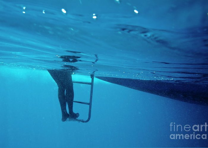 Below Greeting Card featuring the photograph Bare Legs Descending Underwater From The Ladder Of A Boat by Sami Sarkis