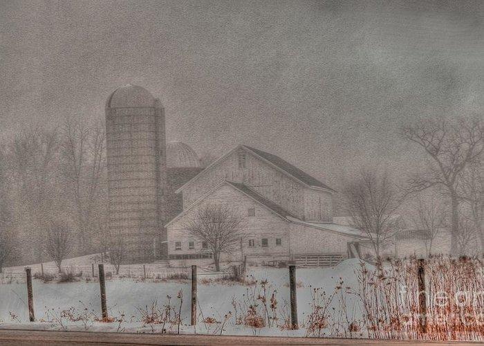 Barn Greeting Card featuring the photograph Barn In Fog by David Bearden