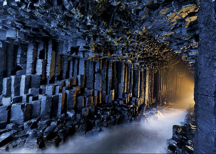 Underground Greeting Card featuring the photograph Basalt Pillars Line Fingals Cave by Jim Richardson