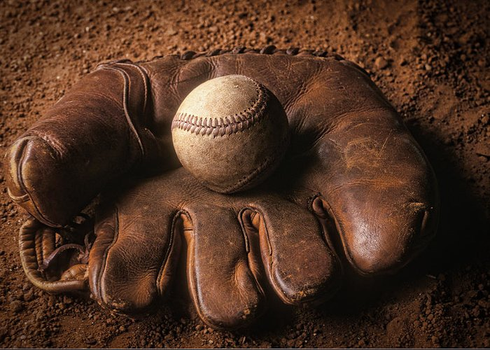 Baseball Greeting Card featuring the photograph Baseball In Glove by John Wong