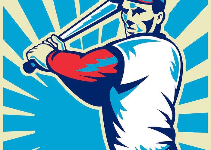 Baseball Greeting Card featuring the digital art Baseball Player Batting Retro by Aloysius Patrimonio