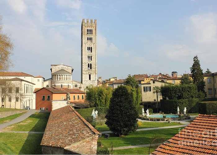 Ancient Greeting Card featuring the photograph Basilica Di San Frediano With Palazzo Pfanner Gardens by Kiril Stanchev