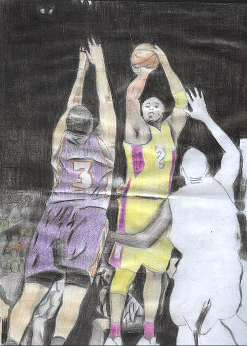 Three Basketball Players Fighting For The Ball. Greeting Card featuring the drawing Basket Ball by Daniel Kabugu