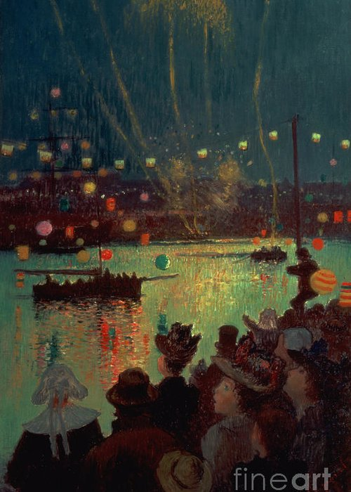 Bastille Day At Lorient Greeting Card featuring the painting Bastille Day At Lorient by Henry Moret