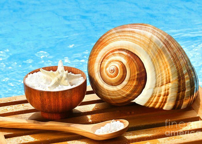 Aromatherapy Greeting Card featuring the photograph Bath Salts And Sea Shell By The Pool by Sandra Cunningham