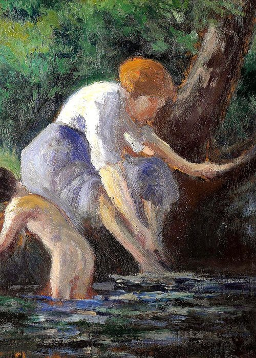 Maximilien Luce Greeting Card featuring the painting Bathing by Maximilien Luce