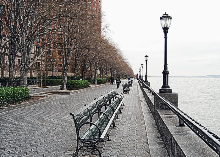 Cityscape Greeting Card featuring the photograph Battery Park by Michael Peychich