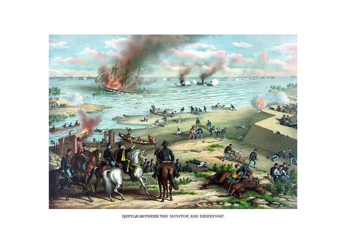 Monitor Greeting Card featuring the painting Battle Between The Monitor And Merrimac by War Is Hell Store