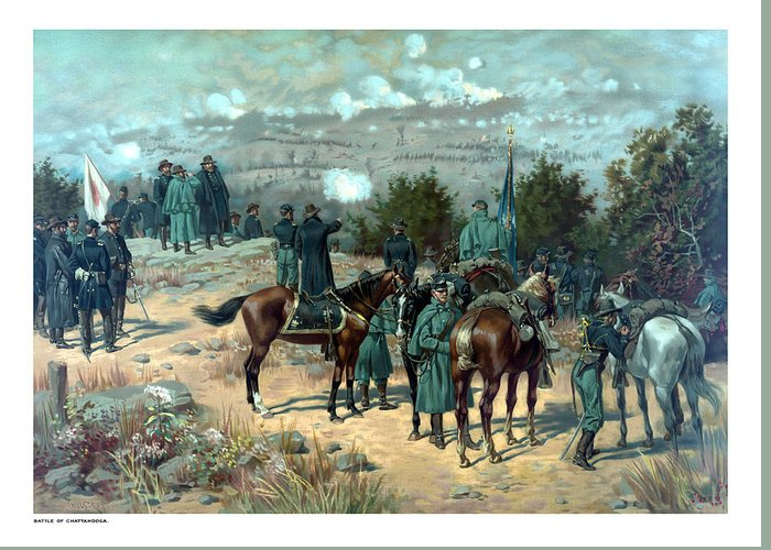 Missionary Ridge Greeting Card featuring the painting Battle Of Chattanooga by War Is Hell Store