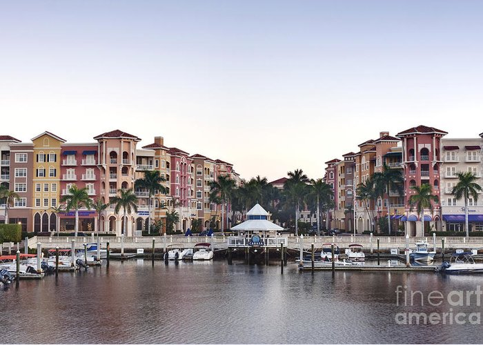 Architectural Detail Greeting Card featuring the photograph Bayfront Shopping Center And Marina by Rob Tilley