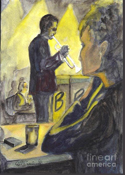 Jazz Greeting Card featuring the painting Bb Jazz by Carol Wisniewski
