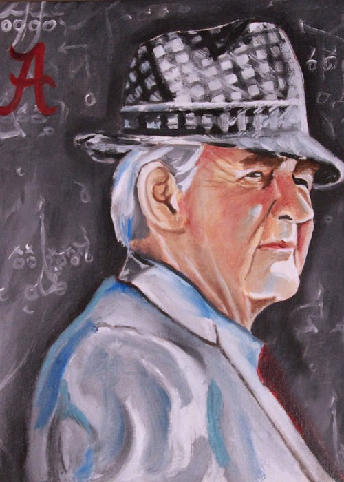 Bear Bryant Portraits Greeting Card featuring the painting Bear Bryant by Mikayla Ziegler