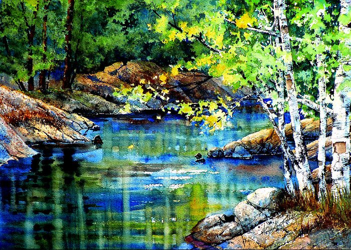 Landscape Painting Greeting Card featuring the painting Bear Paw Stream by Hanne Lore Koehler