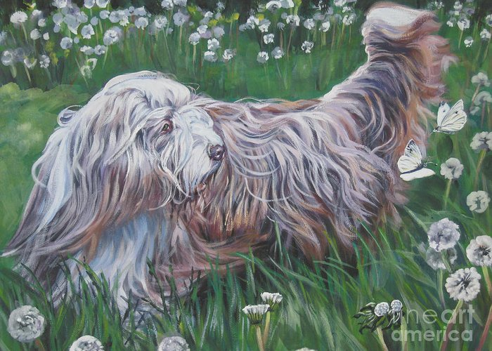 Bearded Collie Greeting Card featuring the painting Bearded Collie by Lee Ann Shepard