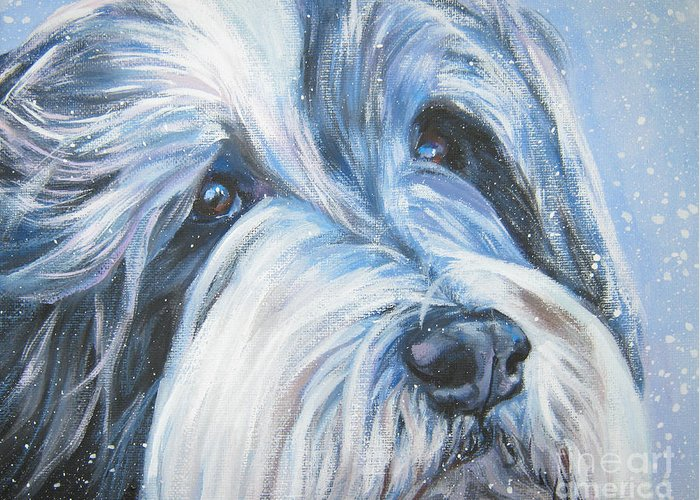 Dog Greeting Card featuring the painting Bearded Collie Up Close In Snow by Lee Ann Shepard