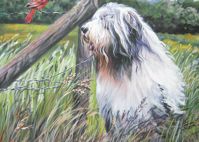 Bearded Collie Greeting Card featuring the painting Bearded Collie With Cardinal by Lee Ann Shepard