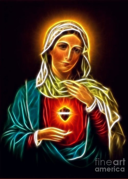 Virgin Mary Sacred Heart Greeting Card featuring the mixed media Beautiful Virgin Mary Sacred Heart by Pamela Johnson