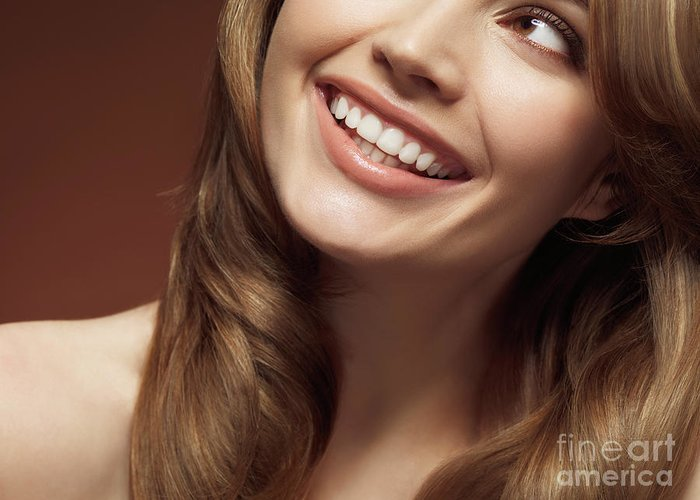 Beauty Greeting Card featuring the photograph Beautiful Young Smiling Woman by Oleksiy Maksymenko