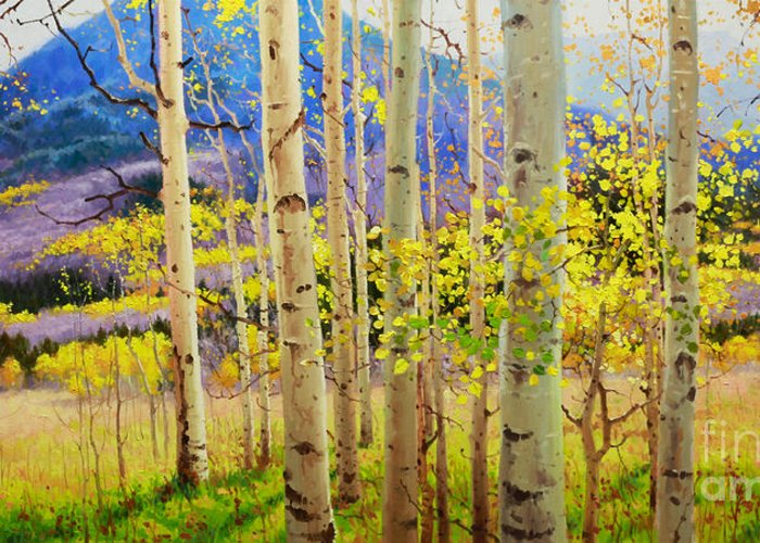 Aspen Forest Tree Greeting Card featuring the painting Beauty Of Aspen Colorado by Gary Kim
